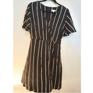 Striped dress with tie at waist